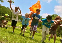 kids running from flame