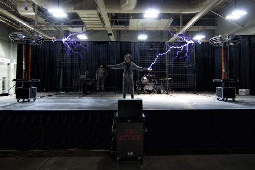 AUSTIN, TEXAS - MAY 6, 2016: Behind the scenes at Maker Faire Austin 2016 at the Palmer Events Center.