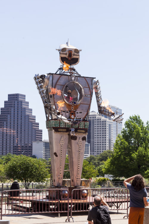 AUSTIN, TEXAS - MAY 7, 2016:  Robot Resurrection throwing flames at the 2016 Maker Faire in Austin, Texas.